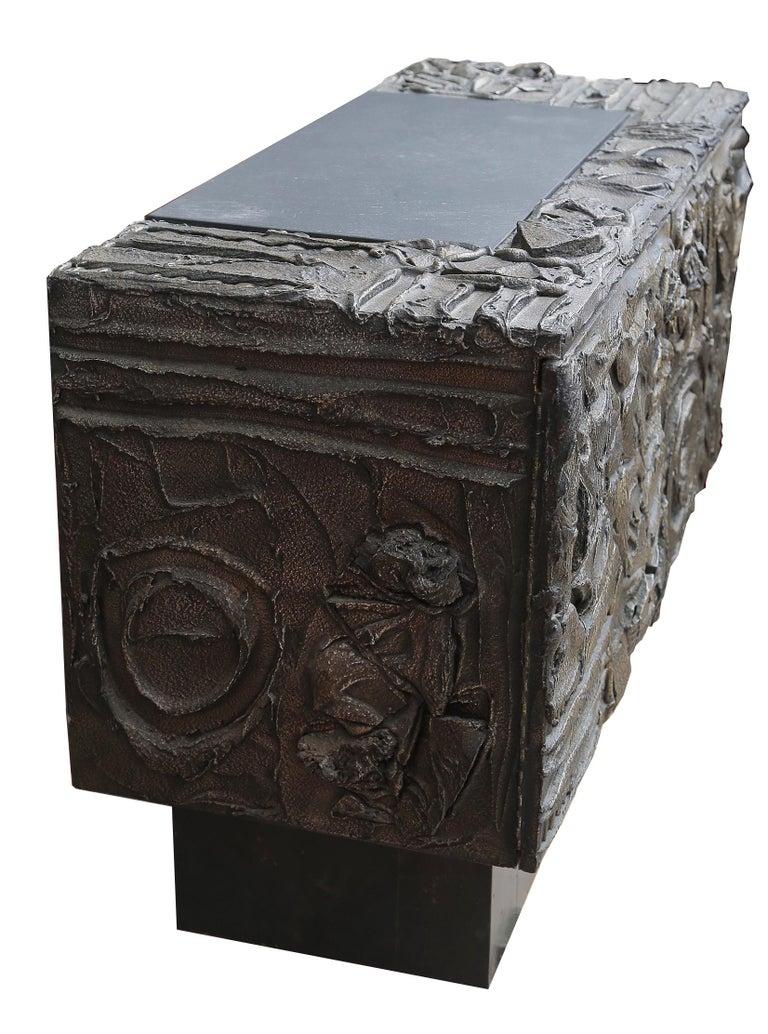 American Paul Evans Sculpted Bronze 2-Door Cabinet For Sale