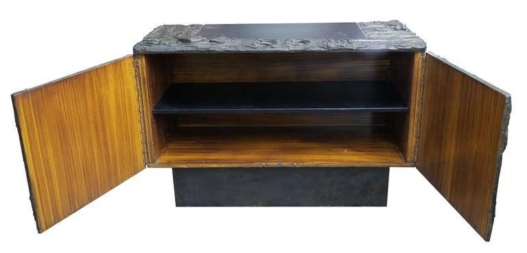 Resin Paul Evans Sculpted Bronze 2-Door Cabinet For Sale