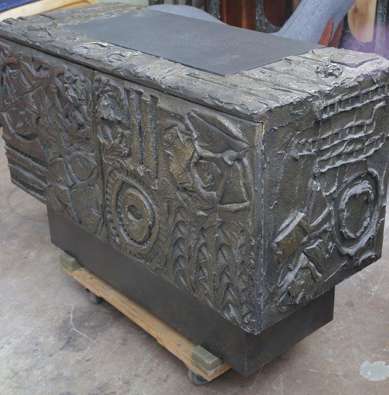 Paul Evans Sculpted Bronze 2-Door Cabinet For Sale 2
