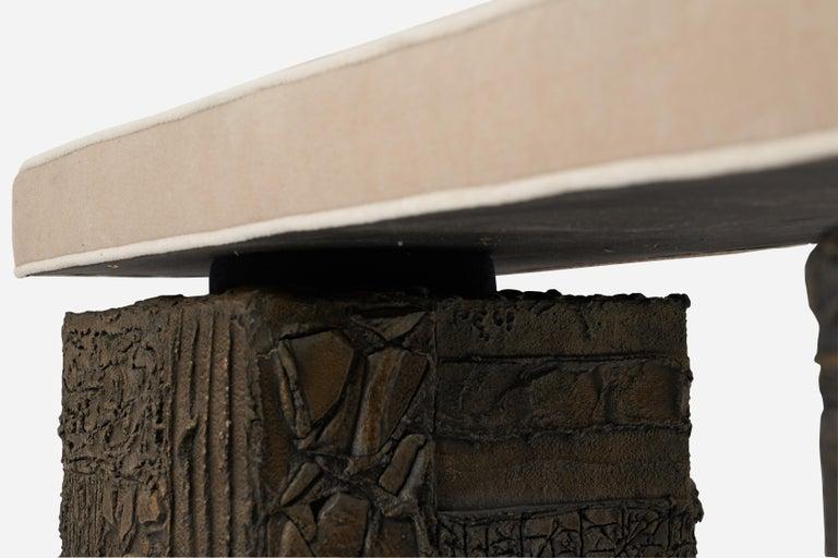 Mid-Century Modern Paul Evans Sculpted Bronze Bench For Sale