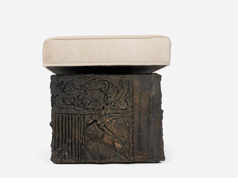 20th Century Paul Evans Sculpted Bronze Bench For Sale