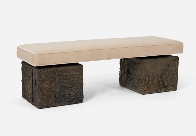 Paul Evans Sculpted Bronze Bench For Sale 1