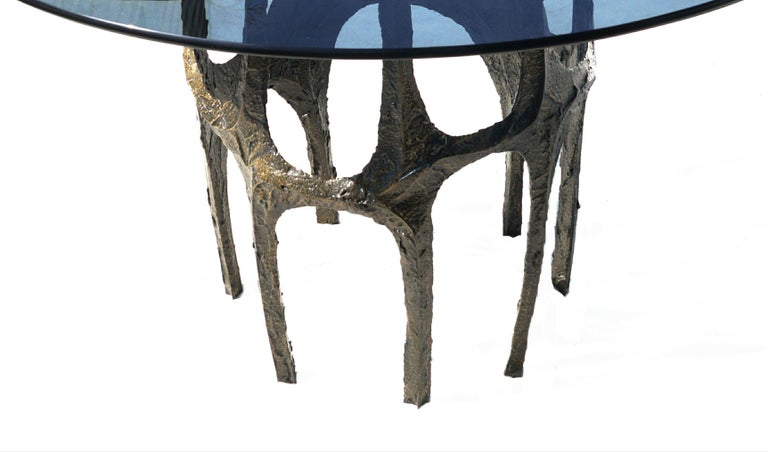 Paul Evans Sculpted Bronze Breakfast Small Dining Center Glass top Table For Sale 4