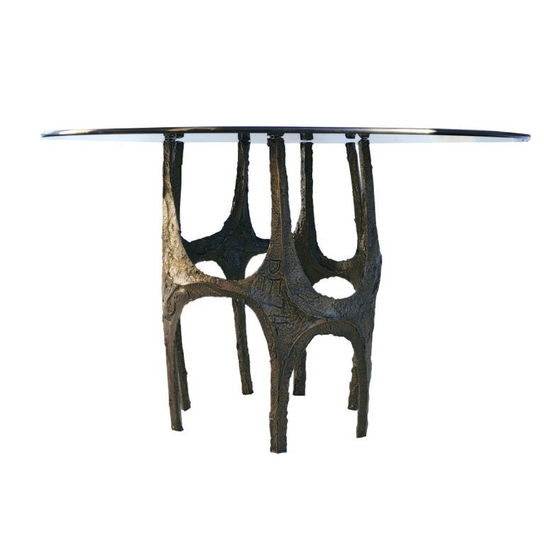Paul Evans sculpted bronze table. Marked by Designer. Smoked glass top. The base alone measures 27.75