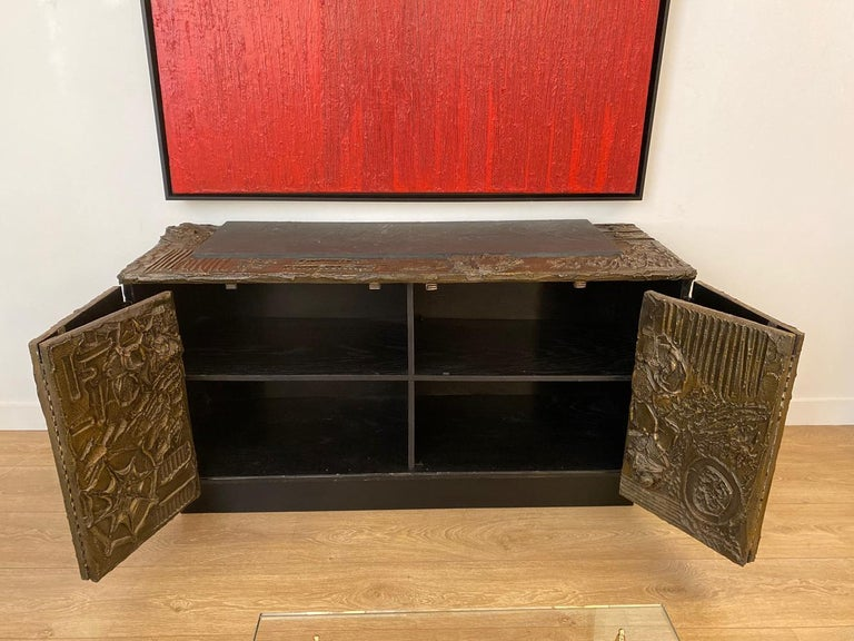Paul Evans Sculpted Bronze Brutalist Sideboard, USA, 1969 In Excellent Condition For Sale In Miami, FL