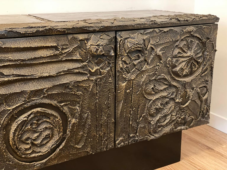 North American Paul Evans Sculpted Bronze Brutalist Sideboard, USA, 1972 For Sale