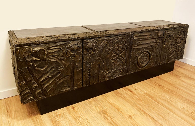 Late 20th Century Paul Evans Sculpted Bronze Brutalist Sideboard, USA, 1972 For Sale