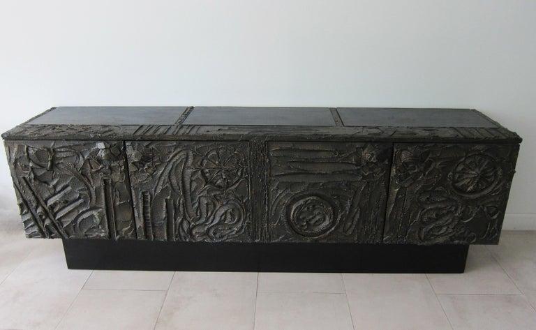 Paul Evans Sculpted Bronze Brutalist Sideboard, USA, 1972 For Sale 1