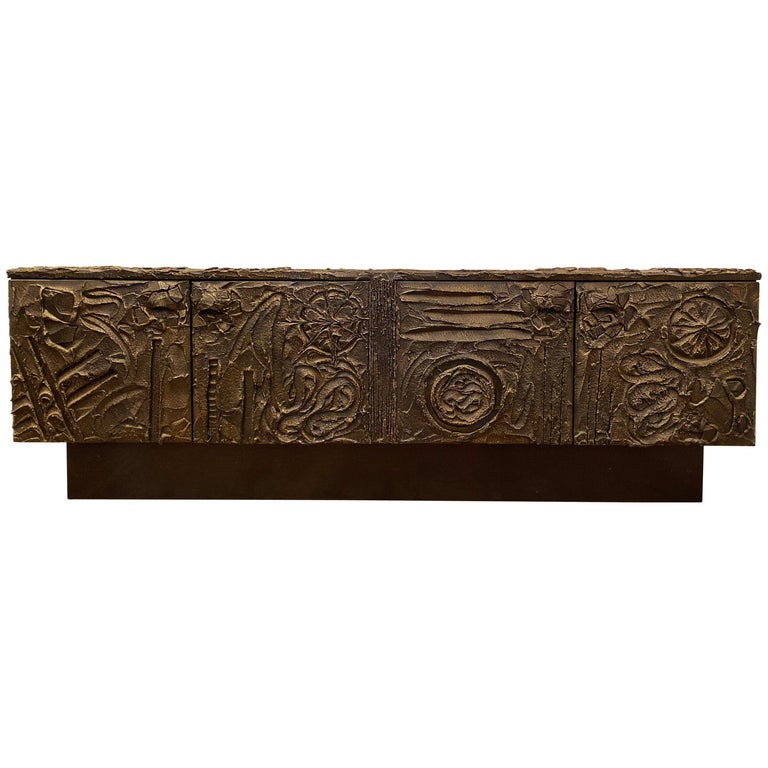 Paul Evans Sculpted Bronze Brutalist Sideboard, USA, 1972 For Sale