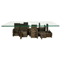Paul Evans Sculpted Bronze Coffee Table 1969 'Signed and Dated'