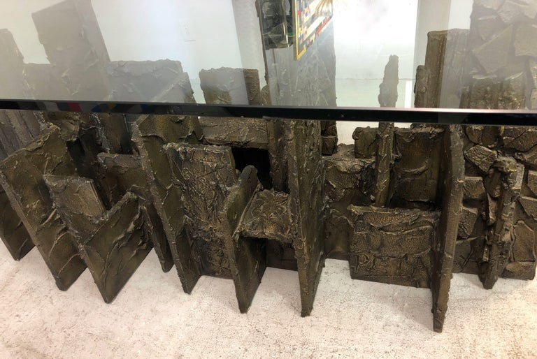 Paul Evans Sculpted Bronze Dining Conference Table, 1974 For Sale 5