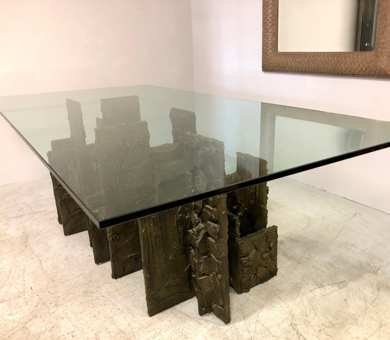 Paul Evans Sculpted Bronze Dining Conference Table, 1974 For Sale 6