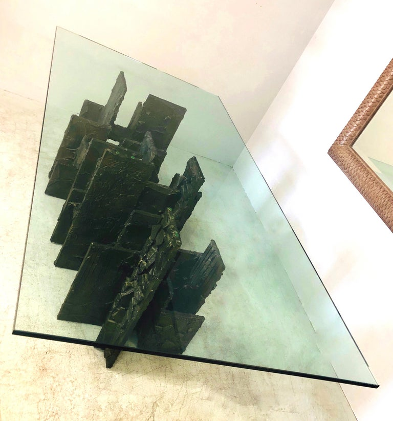 Late 20th Century Paul Evans Sculpted Bronze Dining Conference Table, 1974 For Sale