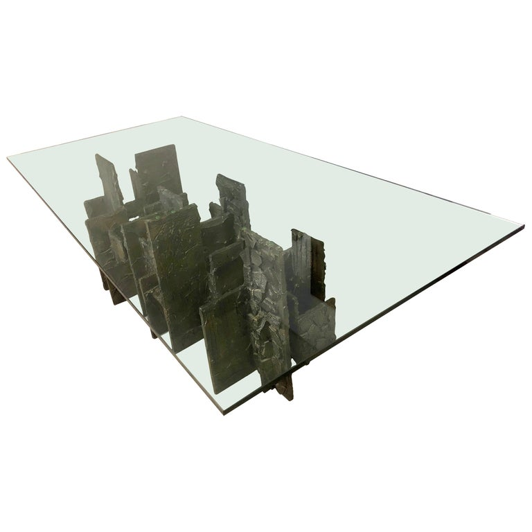 Paul Evans Sculpted Bronze Dining Conference Table, 1974 For Sale
