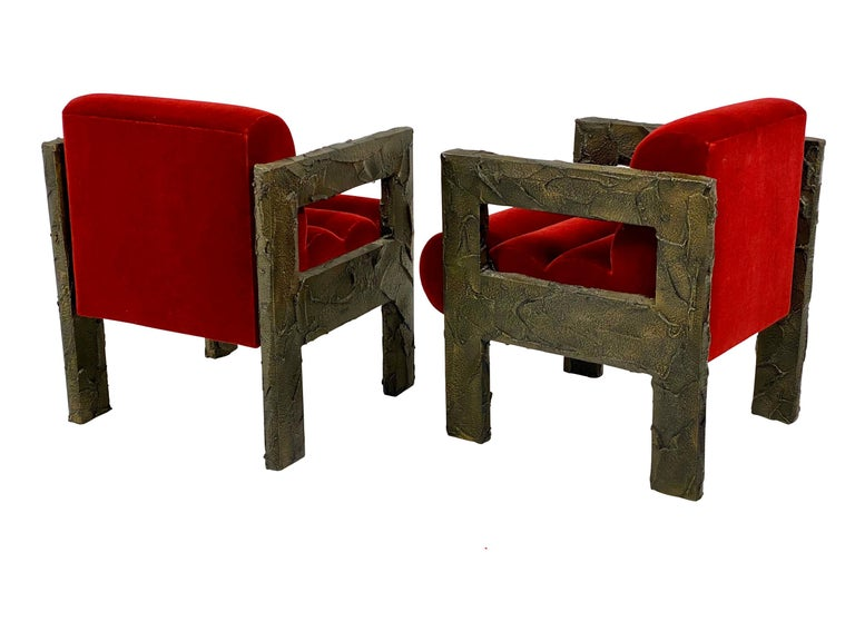 """Rare lounge chairs by Paul Evans, circa 1968. Sculpted bronze frames with new mohair upholstery. Will be accompanied with """"Certificate of Authenticity"""" by Dorsey Reading."""