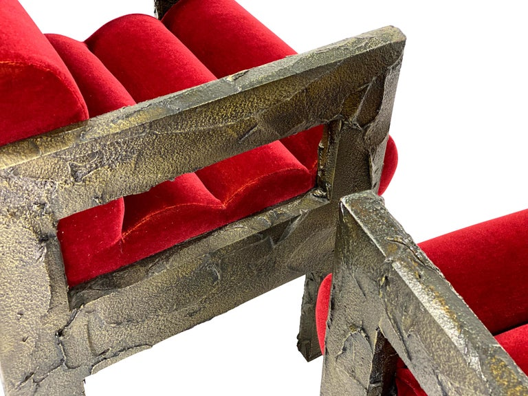 Paul Evans Sculpted Bronze Lounge Chairs In Excellent Condition For Sale In Chicago, IL