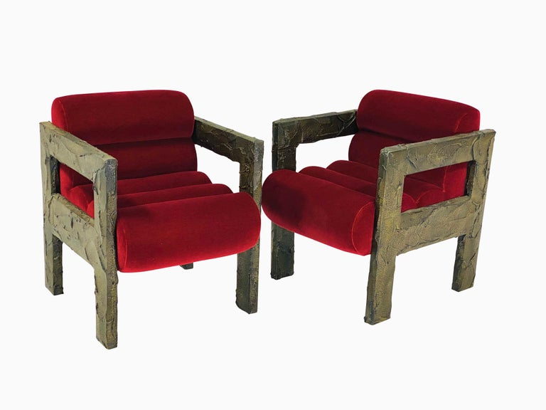 20th Century Paul Evans Sculpted Bronze Lounge Chairs For Sale