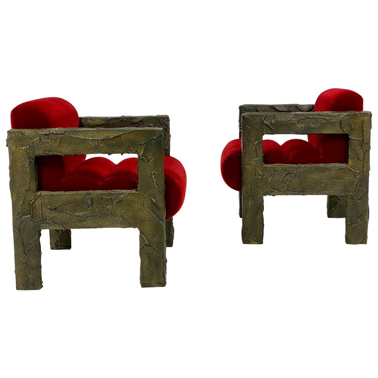 Paul Evans Sculpted Bronze Lounge Chairs For Sale