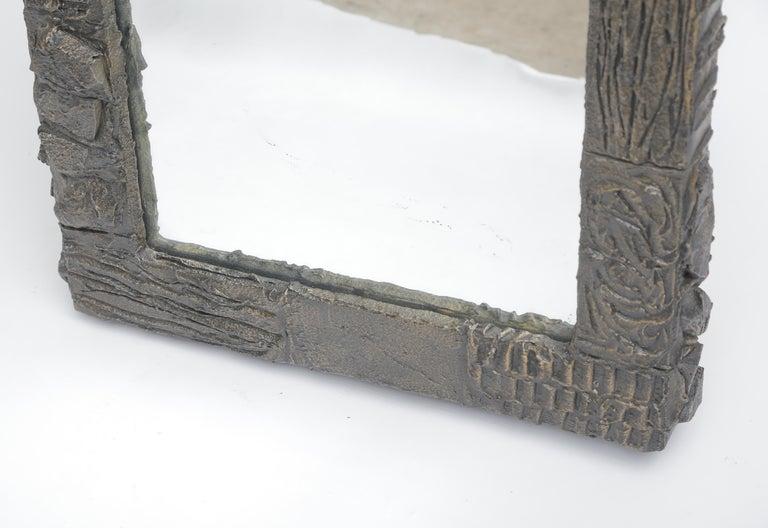 American Paul Evans Sculpted Bronze Mirror For Sale