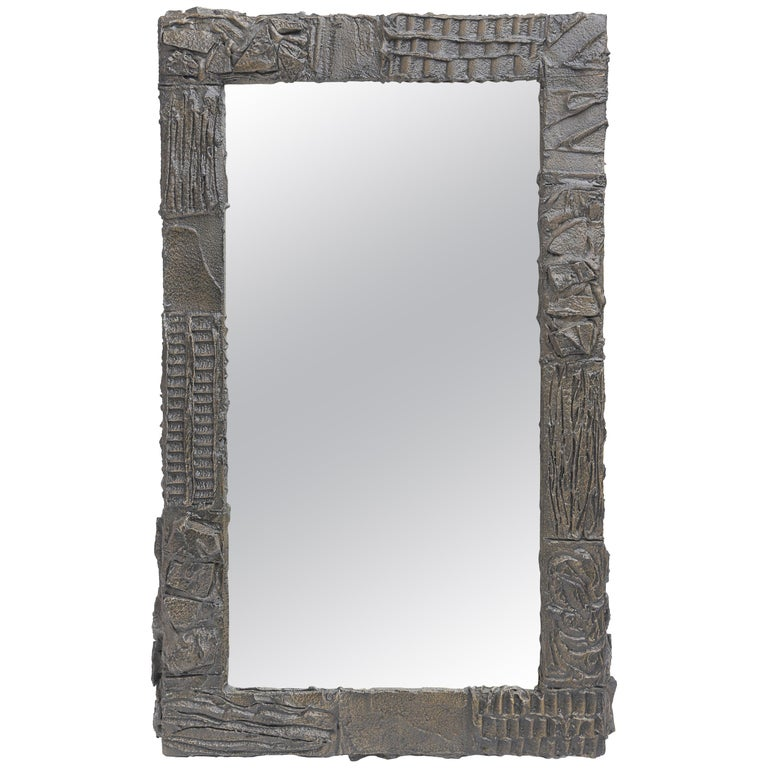 Paul Evans Sculpted Bronze Mirror For Sale