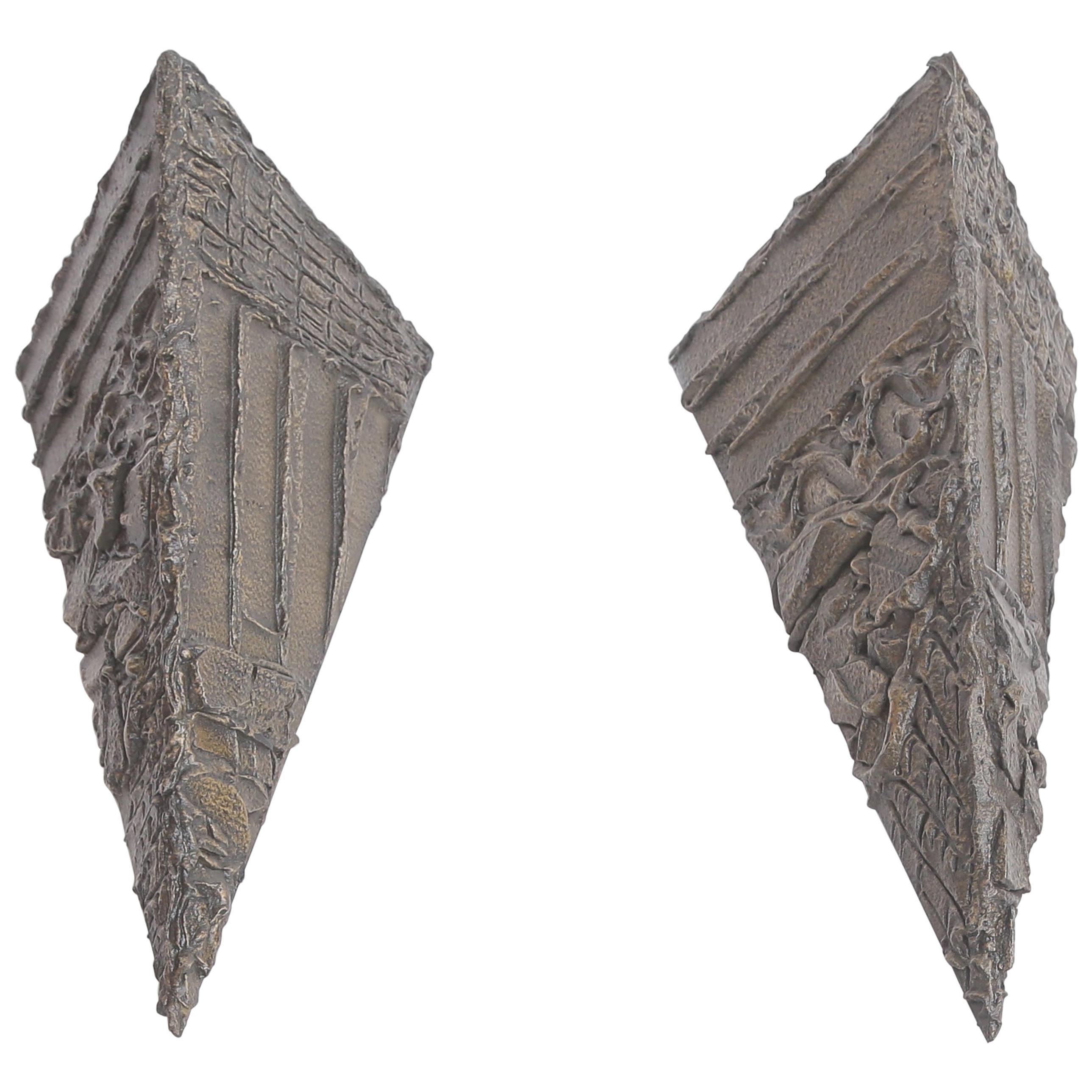 Paul Evans Sculpted Bronze Pyramidal Wall Brackets
