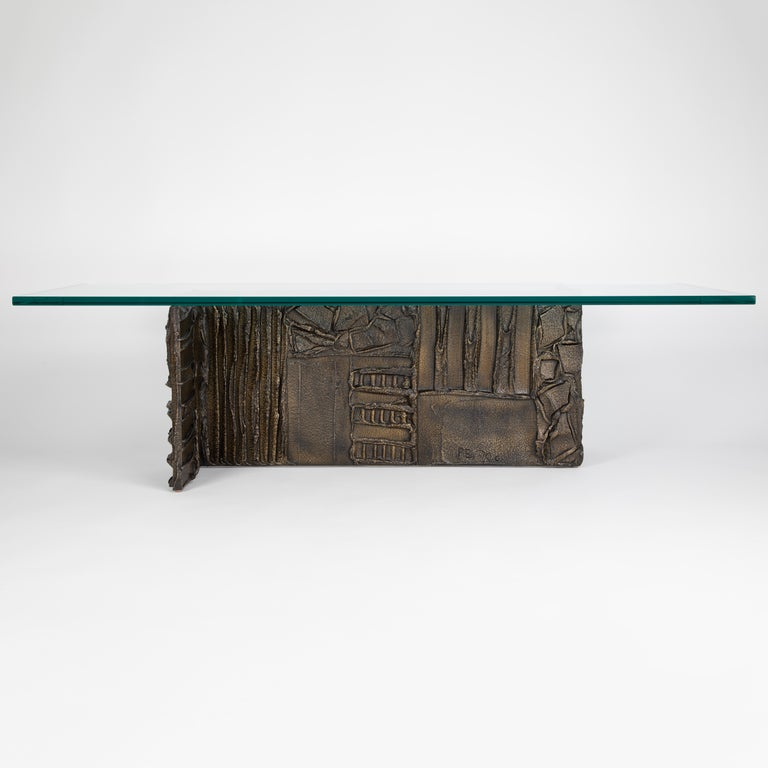 American Paul Evans Sculpted Bronze Rectangular Coffee Table, 1970 For Sale