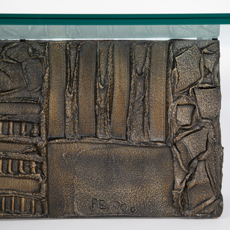 Paul Evans Sculpted Bronze Rectangular Coffee Table, 1970 For Sale 1