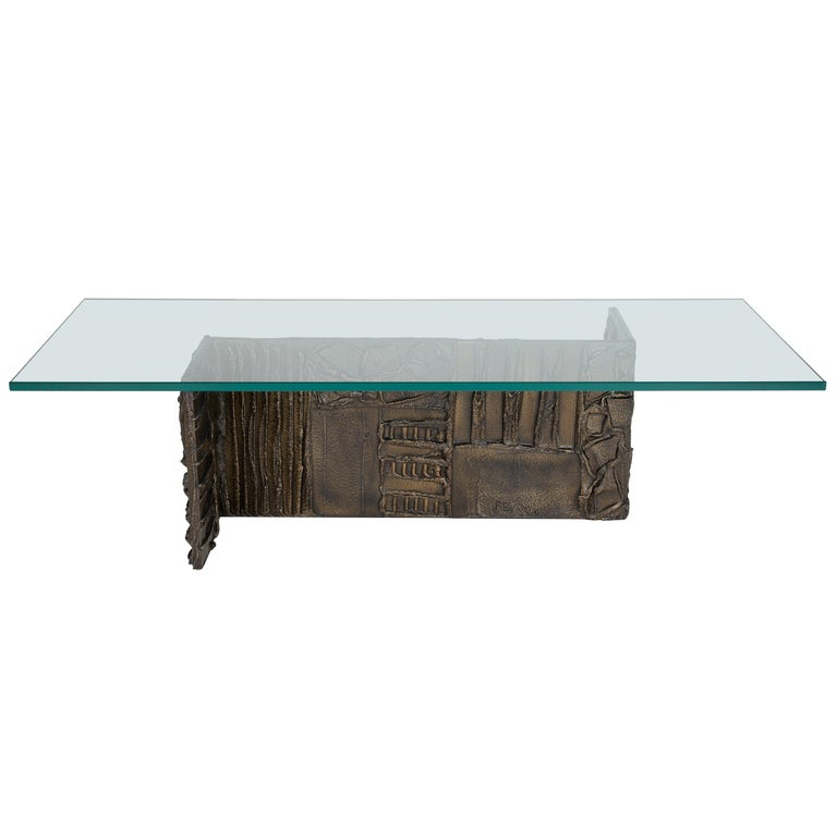 Paul Evans Sculpted Bronze Rectangular Coffee Table, 1970 For Sale
