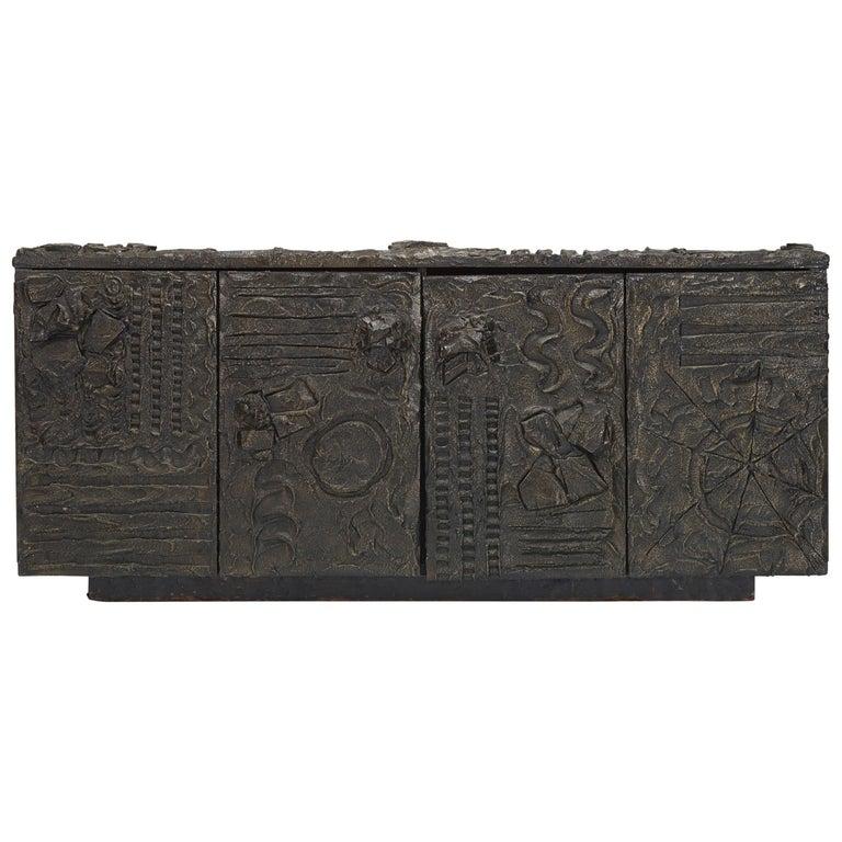Paul Evans Sculpted Bronze Sideboard USA, 1970 For Sale