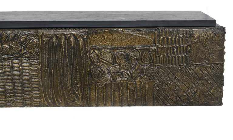 Paul Evans Sculpted Bronze Slate Top Wall Console Shelf Signed For Sale 2