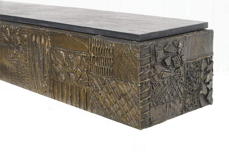 Paul Evans Sculpted Bronze Slate Top Wall Console Shelf Signed For Sale 3