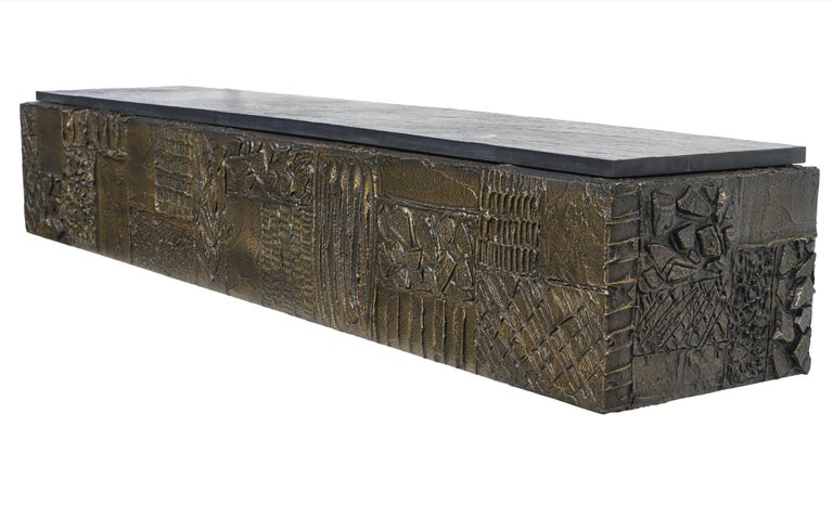 Paul Evans Sculpted Bronze Slate Top Wall Console Shelf Signed For Sale 4