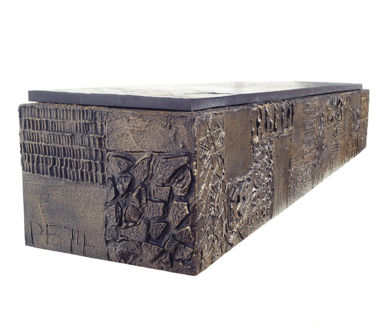 Mid-Century Modern Paul Evans Sculpted Bronze Slate Top Wall Console Shelf Signed For Sale