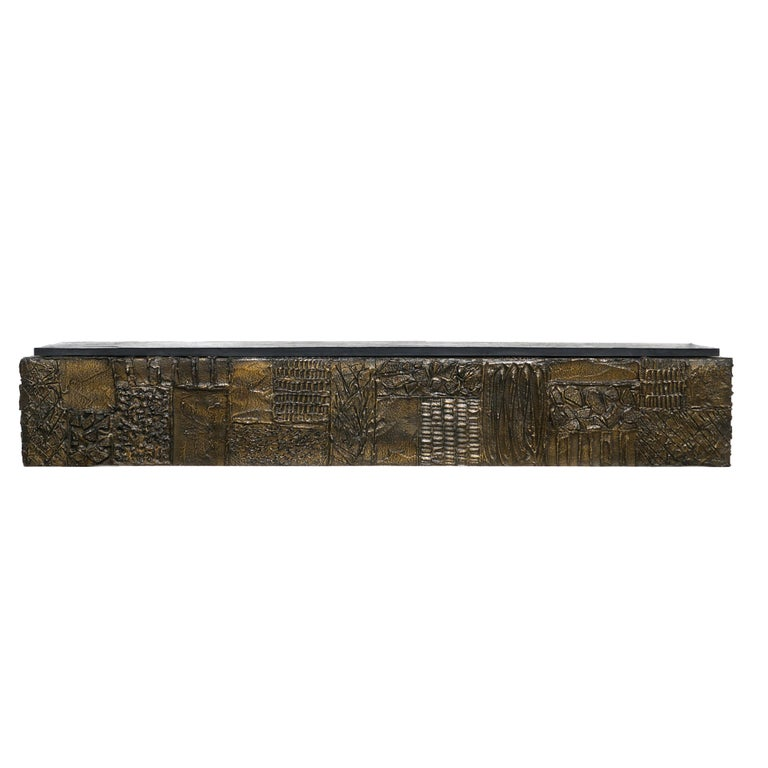 American Paul Evans Sculpted Bronze Slate Top Wall Console Shelf Signed For Sale
