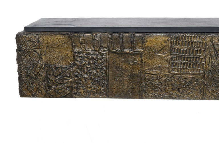 Bronzed Paul Evans Sculpted Bronze Slate Top Wall Console Shelf Signed For Sale