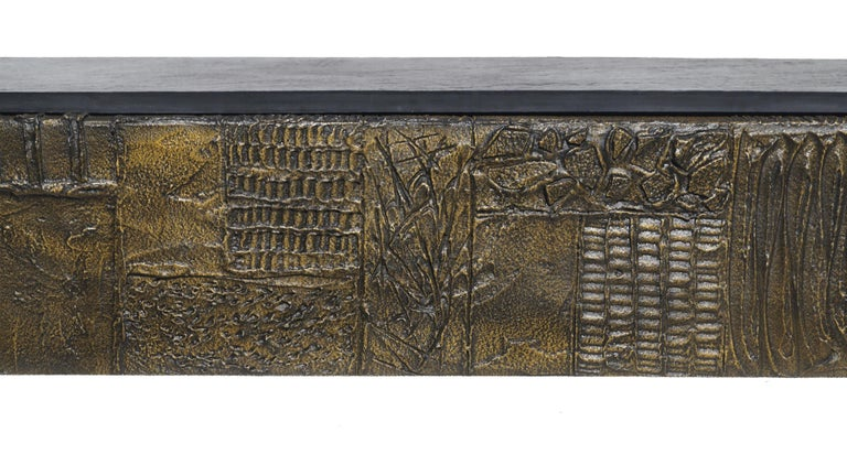 Late 20th Century Paul Evans Sculpted Bronze Slate Top Wall Console Shelf Signed For Sale