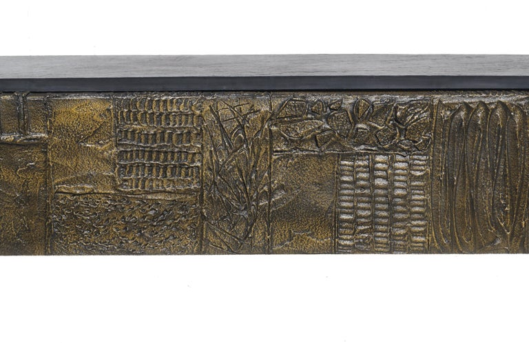 Resin Paul Evans Sculpted Bronze Slate Top Wall Console Shelf Signed For Sale