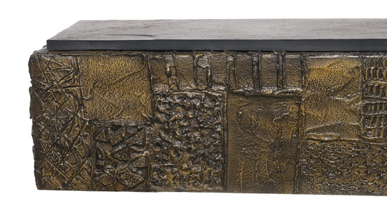 Paul Evans Sculpted Bronze Slate Top Wall Console Shelf Signed For Sale 1