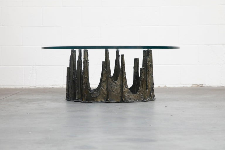 Brutalist Paul Evans Sculpted Bronze Stalagmite Coffee Table, Signed and Dated 1972 For Sale