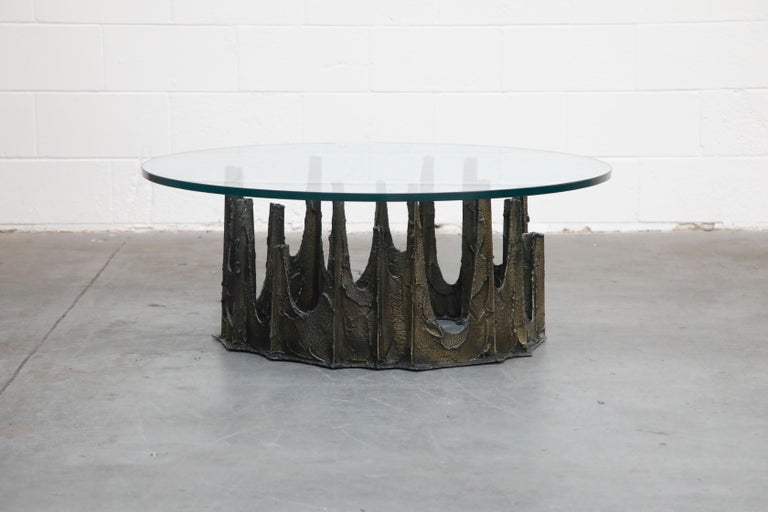 American Paul Evans Sculpted Bronze Stalagmite Coffee Table, Signed and Dated 1972 For Sale