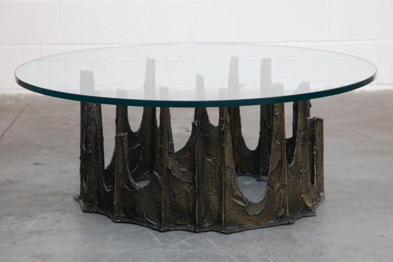 Late 20th Century Paul Evans Sculpted Bronze Stalagmite Coffee Table, Signed and Dated 1972 For Sale