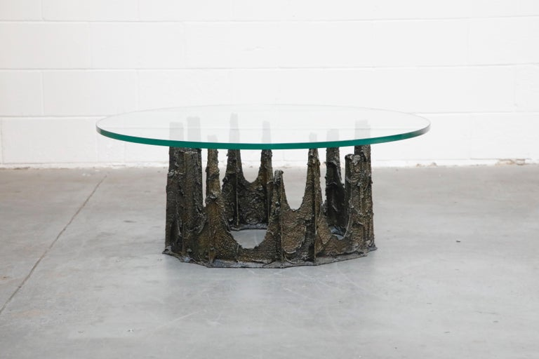 American Paul Evans Sculpted Bronze Stalagmite Coffee Table, Signed and Dated 1979 For Sale
