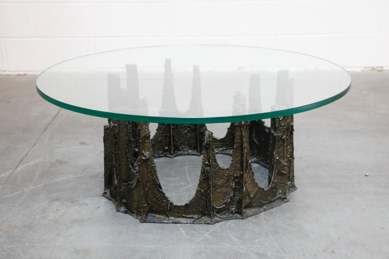 Paul Evans Sculpted Bronze Stalagmite Coffee Table, Signed and Dated 1979 In Excellent Condition For Sale In Los Angeles, CA