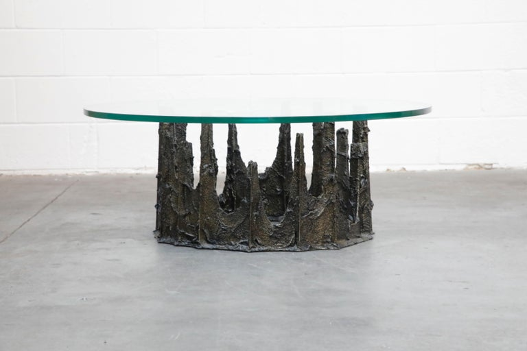 Late 20th Century Paul Evans Sculpted Bronze Stalagmite Coffee Table, Signed and Dated 1979 For Sale
