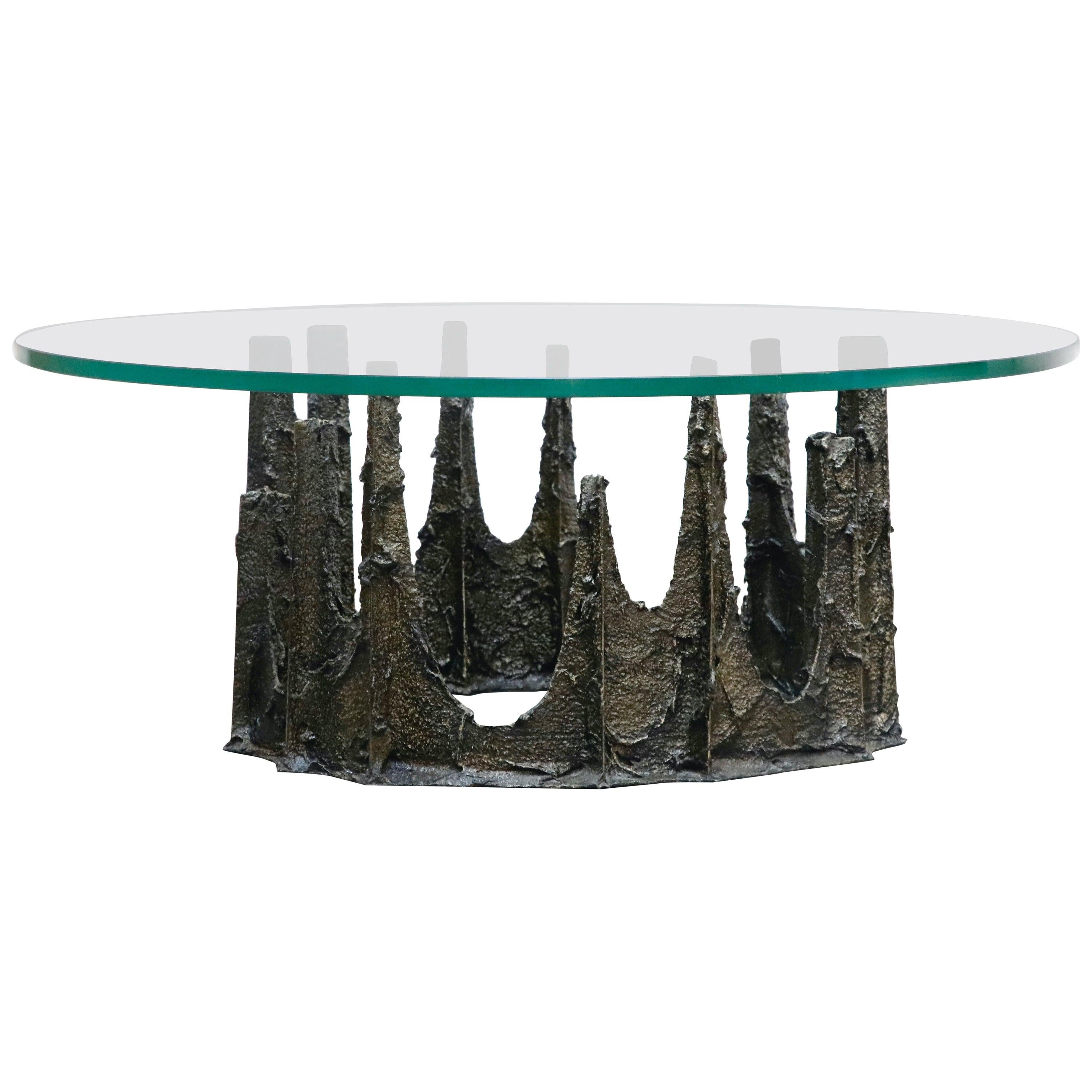 Paul Evans Sculpted Bronze Stalagmite Coffee Table, Signed and Dated 1979