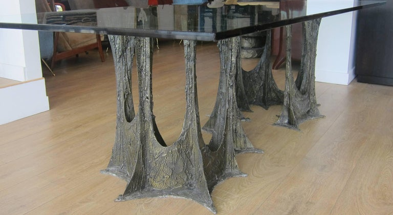 Paul Evans Sculpted Bronze Dining Table, USA 1973 In Excellent Condition For Sale In Miami, FL