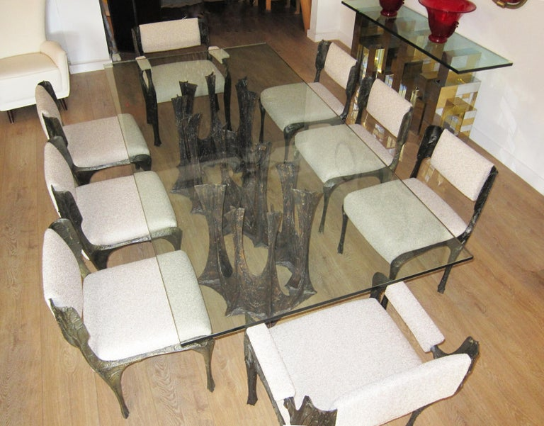 Mid-Century Modern Paul Evans Sculpted Bronze Dining Table, USA 1973 For Sale