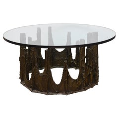 Paul Evans Sculpted Bronze Stalagmite Signed Cocktail Table