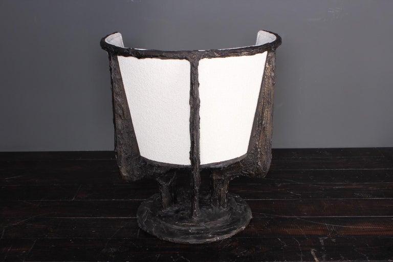 Paul Evans Sculpted Bronze Swivel Chair For Sale 7