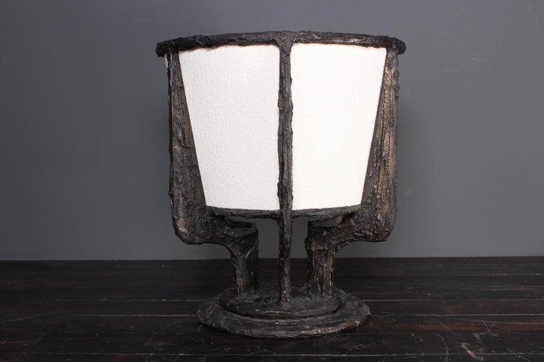 Paul Evans Sculpted Bronze Swivel Chair For Sale 8